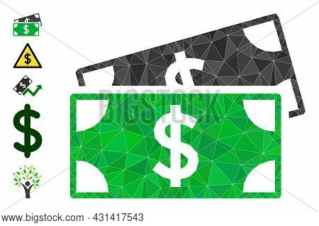 Triangle Dollar Banknotes Polygonal 2d Illustration, And Similar Icons. Dollar Banknotes Is Filled W