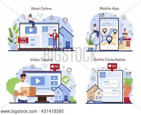 Real Estate Agency Online Service Or Platform Set. Relocation, A New House
