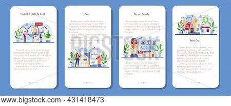 Real Estate Agency Service Mobile Application Banner Set. Qualified Realtor