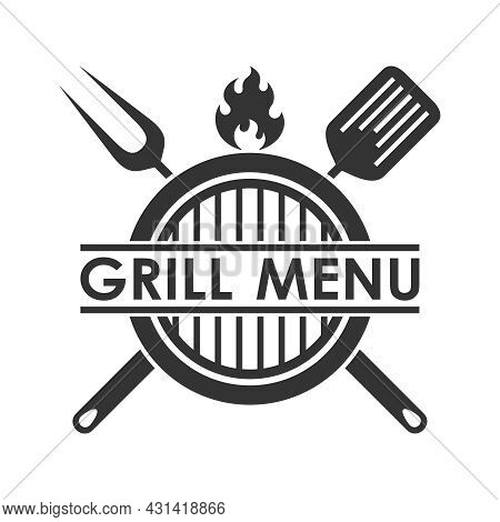 Grill Menu Graphic Design Template. Barbecue, Crossed Barbecue Tools, Flame And Text