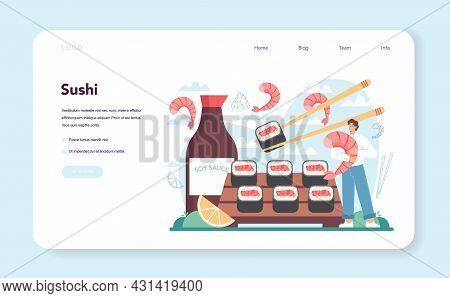 Sushi Chef Web Banner Or Landing Page. Restaurant Chef Cooking Rolls
