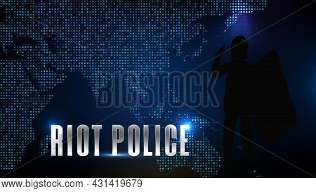 Abstract Futuristic Technology Blue Background Of Silhouette Riot Police And World Map