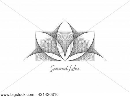 Geometric Wireframe Sacred Lotus Flower, Thread Art. Sacred Geometry. String Black Line Symbol Of Ha
