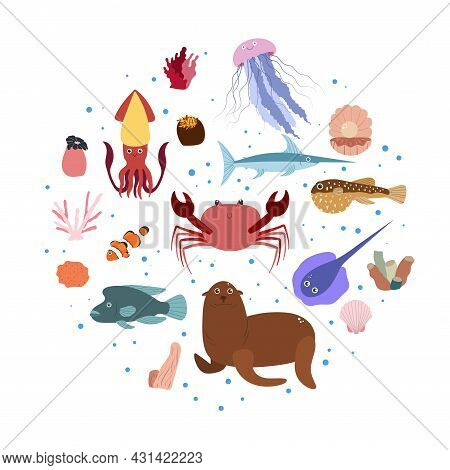 Design Template With Sea Animal In Circle For Kid Print. Round Composition Of Marine Animals, Corals