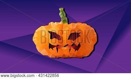 One Halloween Pumpkin On Purple Background. Jack O Lantern. Low Poly Style Vector Illustration