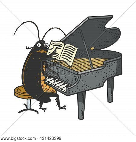 Cartoon Cockroach Orchestra Playing Grand Piano Color Sketch Engraving Vector Illustration. T-shirt