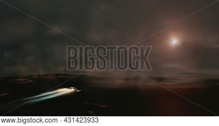 Spaceship Flying In Dark Foggy Landscape With Mountain. Cinematic Look Background, 3d Illustration