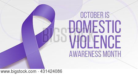 Domestic Violence Awareness Month Concept. Banner For With Purple Ribbon Awareness And Text. Vector
