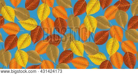 Seamless Pattern Bright Colorful Autumn Foliage Isolated On Blue Background. Graphic Design Autumn S