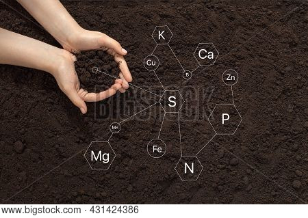 Farmer's Hands On Soil Background, Icons Of Trace Elements, Soil Composition, Natural Fertilizers, E