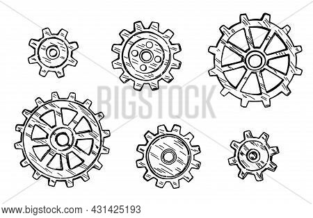 Gear Icon. Technology Drawn In Black Ink On A White Background. Vector Sketch Gear Wheels. Drawn In