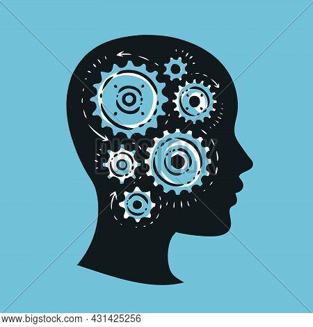 Human Head With Gears Brain Storming Mechanism. Vector Illustration