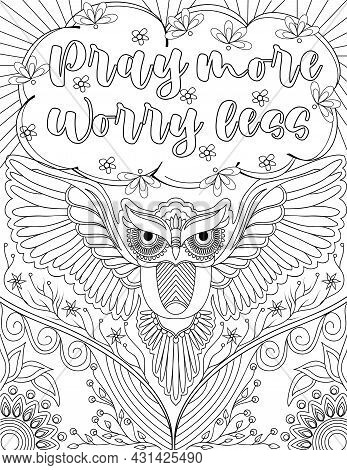 Beautifull Owl Drawing Flying Low Forward Below Insparational Message Surrounded By Flowers. Pretty