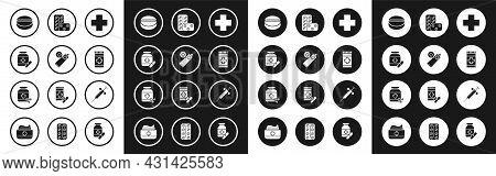 Set Cross Hospital Medical, Ointment Cream Tube Medicine, Medicine Bottle And Pills, Or Tablet, Pill