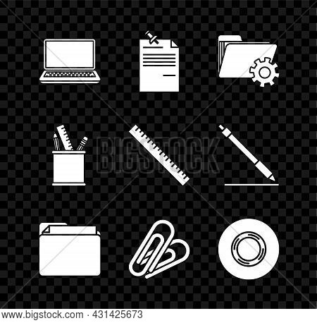 Set Laptop, Note Paper With Pinned Pushbutton, Folder Settings Gears, Document Folder, Paper Clip, S