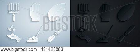 Set Shovel In The Ground, Leaf, Plant Hand Of Environmental Protection, Gardening Handmade Scissors