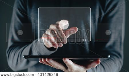 Man Using Tablet For Watching Video On Internet, Online Streaming, Online Class, Content Creator