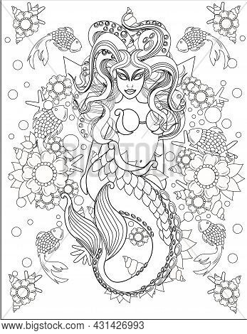 Illustration Of Terrifying Mermaid Swimming Along With Little Fishes Under Water. Mythical Creature