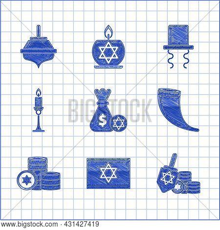 Set Jewish Money Bag With Star Of David And Coin, Flag Israel, Hanukkah Dreidel, Traditional Ram Hor