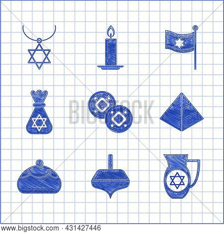 Set Jewish Coin, Hanukkah Dreidel, Decanter With Star Of David, Egypt Pyramids, Sweet Bakery, Money