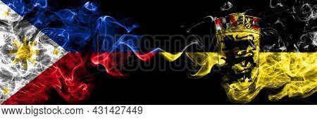 Philippines, Filipino Vs Germany, German, Deutschland, Baden Wurttemberg Smoke Flags Side By Side.