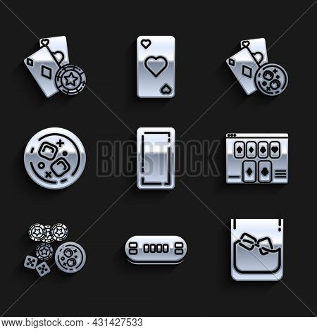 Set Playing Card Back, Poker Table, Glass Of Whiskey And Ice Cubes, Online Poker Game, Casino Chips,