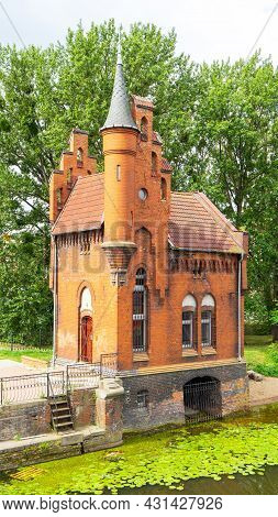 House Of The Caretaker Of The Bridge On The Pregolya River, Kaliningrad, Russia. The Building Is In