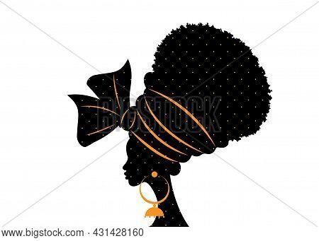 Portrait Beautiful African Woman In Traditional Turban Handmade Tribal Wedding Polka Dots Textile, K