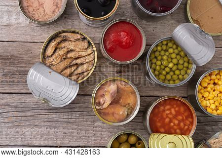 Variety Canned  Food . Fish , Meat And Vegetables . Conserve Background