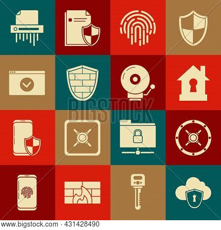 Set Cloud And Shield, Safe, House Under Protection, Fingerprint, Shield With Cyber Security Brick Wa