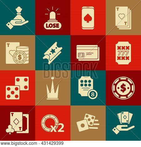 Set Hand Holding Deck Of Playing Cards, Casino Chip With Dollar, Slot Machine Lucky Sevens Jackpot,