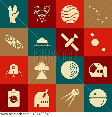 Set Death Star, Astronaut Helmet, Solar System, Planet, Mars Rover, Vulcan Salute And Satellite Icon