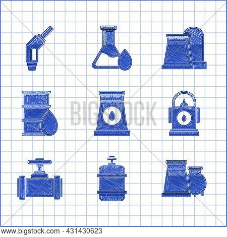 Set Oil And Gas Industrial Factory Building, Propane Tank, Petrol Gas Station, Industry Metallic Pip