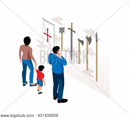 Historical Museum Visitors Watching Ancient Weapons On Wall Isometric Vector Illustration