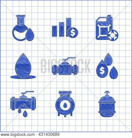 Set Industry Metallic Pipes And Valve, Oil Gas Industrial Factory Building, Propane Tank, Drop With