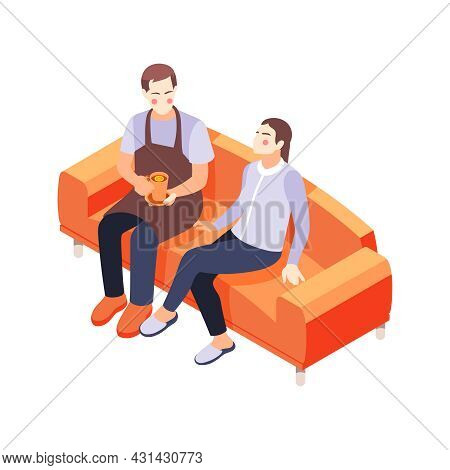 House Husband Giving Cup Of Tea To Wife 3d Isometric Vector Illustration