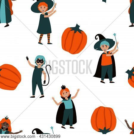 Seamless Pattern Of Boys And Girls In Halloween Costumes. Cute Kids Carnival Halloween Costumes Of C