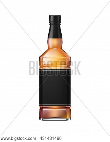 Whisky Cognac Or Brandy Bottle With Black Label And Screw Cap Realistic Vector Illustration