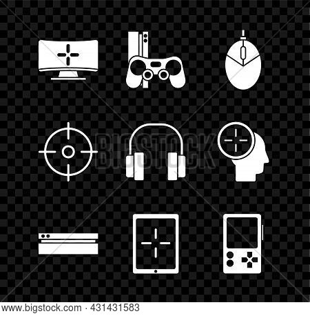 Set Computer Monitor, Game Console With Joystick, Mouse Gaming, Video Game, Tablet, Portable Video,