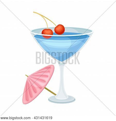 Bright Exotic Cocktail In Glass With Cherry As Tropical Refreshing Drink Vector Illustration