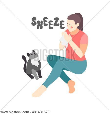 Animal Allergy Isometric Icon With Sneezing Female Character And Cat Vector Illustration