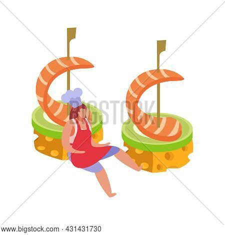 Flat Design Restaurant Appetizer Icon With Prawn Canape And Chef Character Vector Illustration
