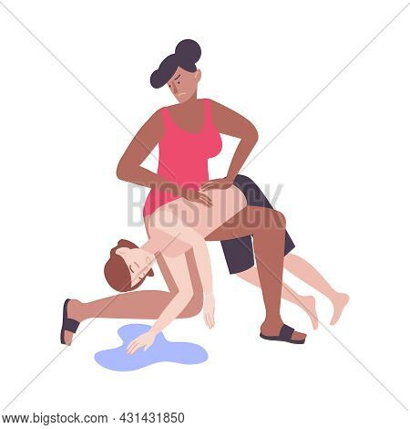 Flat First Aid Icon With Life Guard Helping Sinking Person Vector Illustration