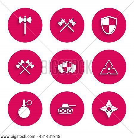 Set Shield, Military Tank, Japanese Ninja Shuriken, Hand Grenade, Crossed Medieval Axes, And Medieva