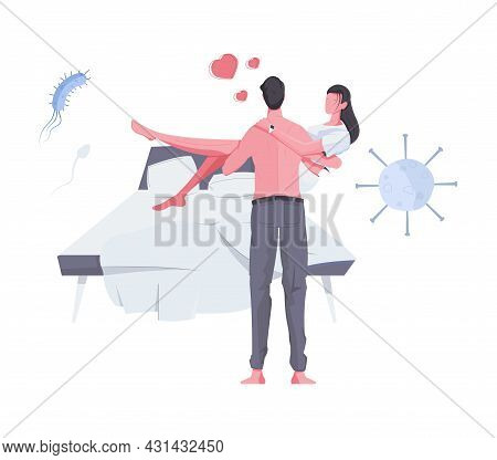Man Health Composition With Couple Going To Make Love Flat Vector Illustration