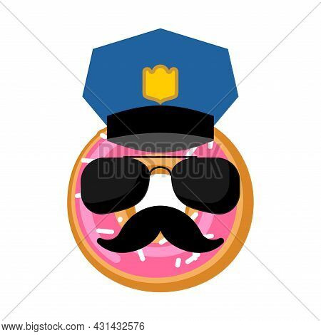 Donut Cop Isolated. Donut Police Officer. Vector Illustration