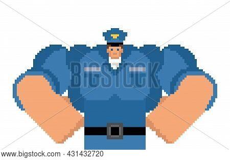 Police Officer Pixel Art. Pixelated Policeman. 8 Bit Cop. Vector Illustration