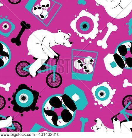 Fashion Pop Art Style Pattern Seamles. Grunge Modern Doodle Background. Youth Fashion