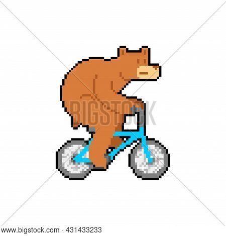 Bear On Bicycle Pixel Art. Pixelated Beast Is Riding Bicycle. 8 Bit Cartoon Childrens Illustration