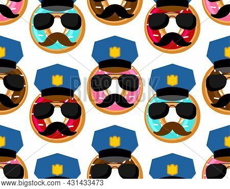Donut Cop Pattern Seamless. Donut Police Officer Background. Vector Texture
